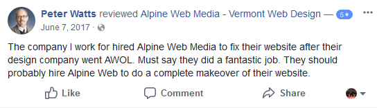 Our Customer Reviews - Alpine: Vermont Web Design, VT